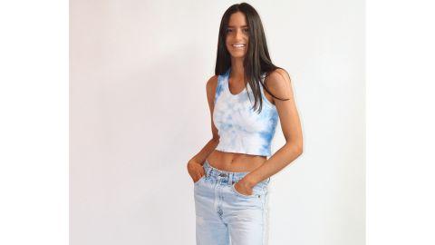 Jordan Baker wearing one of her own tie-dye designs