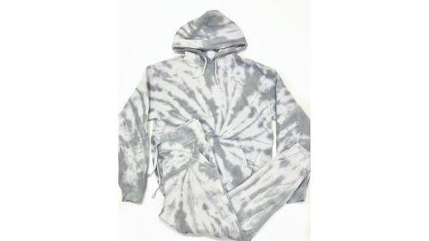 One of Jordan Baker's tie-dye sweatsuit creations, in a swirl pattern