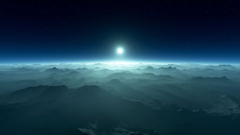 This is an artist's illustration of an exoplanet's atmosphere with a white dwarf star visible on the horizon. The starlight of a white dwarf filtered through the atmosphere of an exoplanet that's orbiting it could reveal if the planet has biosignatures.