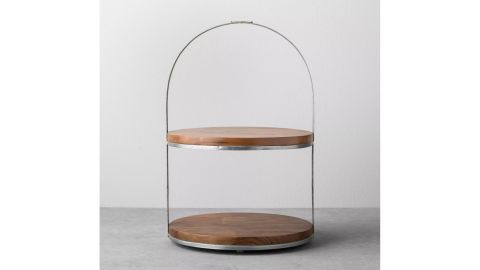 Hearth & Hand 2-Tier Wood & Metal Cake Stand