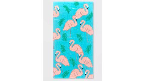 Printed Flamingo Beach Towel Turquoise