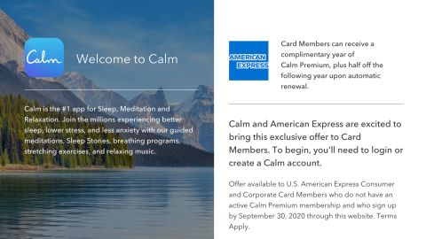 American Express and Calm are offering a complimentary 1-year premium subscription to US personal card members.