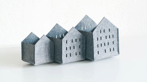 Set of Three Houses Desk Organizer