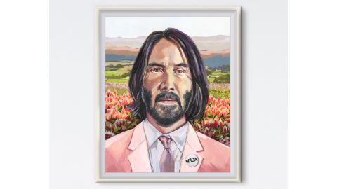 Keanu Reeves Whoa Floral Painting Print
