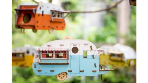 Vintage Camper Bird House Scale Model Playset