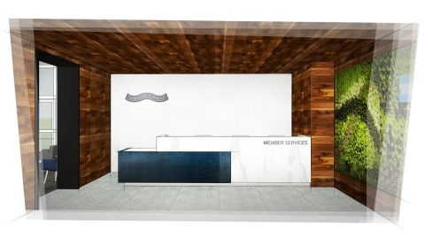 A conceptual rendering provided by American Express of the newly-designed reception area at the Amex Centurion Lounge in Las Vegas.