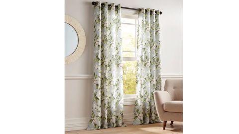 Magnolia Floral Grommet Gray Curtain