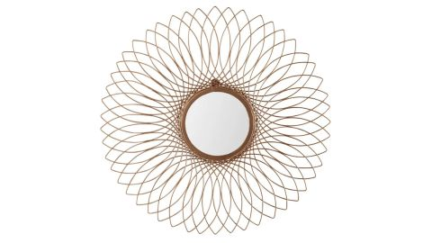 Blooming Gold Metal Round Wall Mirror