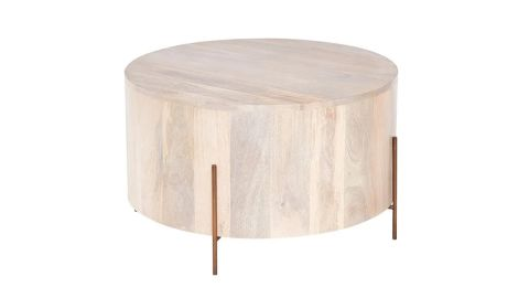 Stavros Whitewashed Wooden Round Coffee Table