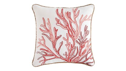 """Embroidered Jute 20"""" Coral Pillow"""