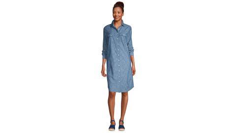 Women's Long Sleeve Knee Length Button-Down Shirt Dress