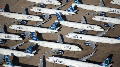 MARANA, ARIZONA - MAY 16: Decommissioned and suspended jetBlue commercial aircrafts are seen stored in Pinal Airpark on May 16, 2020 in Marana, Arizona.  Pinal Airpark is the largest commercial aircraft storage facility in the world, currently holding increased numbers of aircraft in response to the coronavirus COVID-19 pandemic.   (Photo by Christian Petersen/Getty Images)