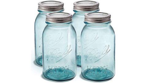 Sewanta Set of 4 Aqua Vintage Mason Jars