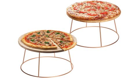 MyGift Rose Gold Metal Pizza Pan Display Stands, Set of 2