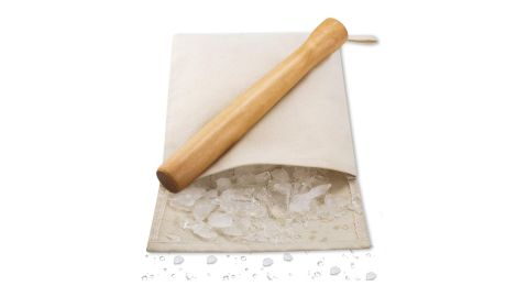Wooden Cocktail Muddler and Ice Crusher with Canvas Ice Bag
