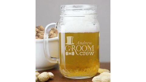 Personalized Engraved Groom Crew Mason Jar