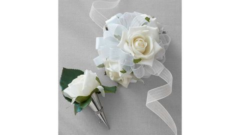 White Corsage and Boutonniere Set