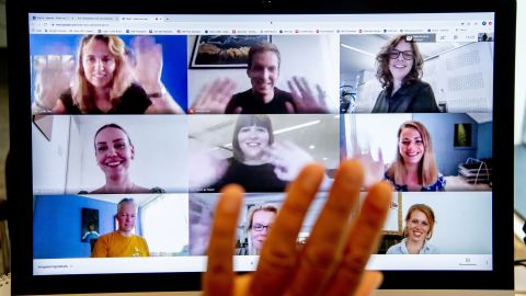 A director meets with his employees online on June 12, 2020 in The Hague, Netherlands as many people work from home during the coronavirus pandemic crisis. (Photo by Robin Utrecht/Action Press/ZUMA Press)