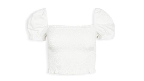 ASTR the label Women's Short Sleeve Square Neck Mason Smocked Crop Top