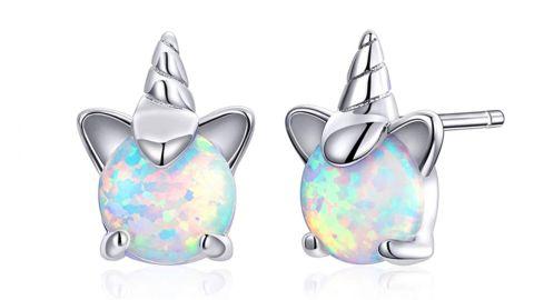 Voroco 925 Sterling Silver Unicorn Stud Earrings