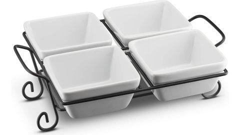 4-Piece Ceramic Condiment Dish with Metal Rack