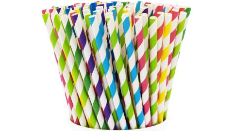 100% Biodegradable Paper Drinking Straws - 200 Pack