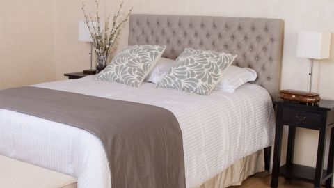 Jezebel Button Tufted Headboard in Light Beige by Christopher Knight Home