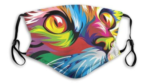 Colorful Cat Reusable Face Mask with 2 Carbon Filters