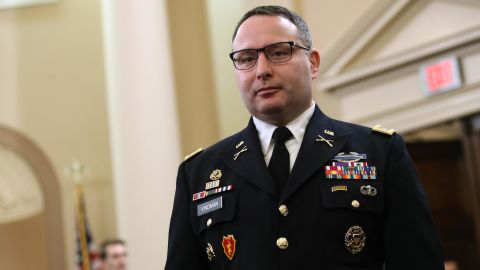 Lt. Col. Alexander Vindman arrives to testify before the House Intelligence Committee in the Longworth House Office Building on Capitol Hill November 19, 2019 in Washington, DC.