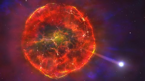 When a star's mass is ejected during a supernova, it expands quickly. Eventually, it will slow and form a hot bubble of glowing gas. A white dwarf will emerge from this gas bubble and move across the galaxy.