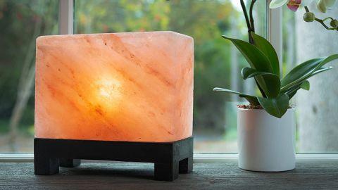 Authentic Natural Himalayan Salt Lamp Hand-Carved Modern Rectangle