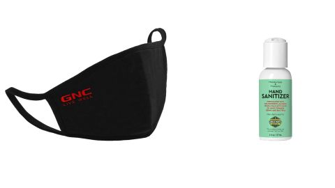GNC Personal Adult Cloth Face Mask and Uncle Bud's Hand Sanitizer
