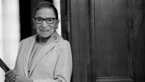 Ginsburg gives a keynote address at Columbia University in February 2018.