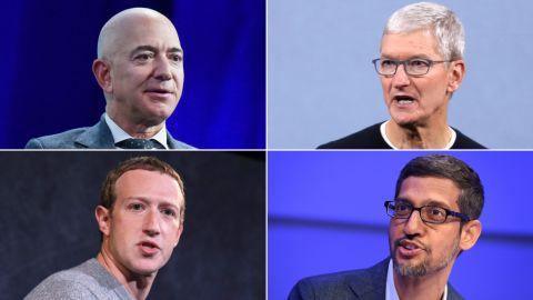 Jeff Bezos, Tim Cook, Mark Zuckerberg, Sundar Pichai