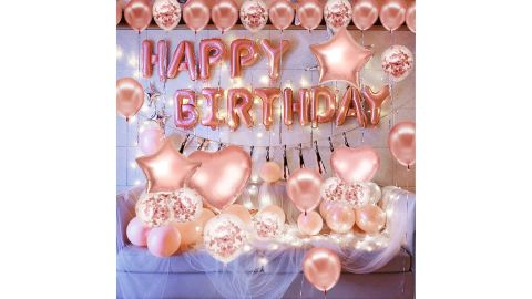 Pink and Gold Birthday Decorations Party Supplies Set