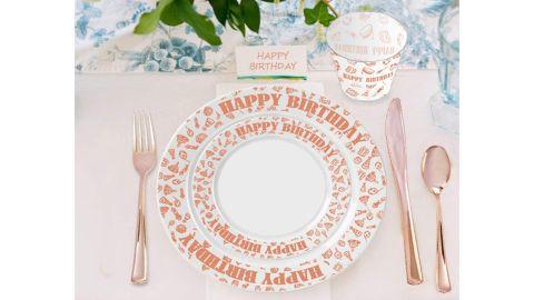 150-Piece Rose Gold Premium Plastic Cutlery & Plates