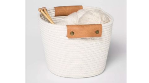 Threshold Decorative Coiled Rope Square Base Tapered Basket