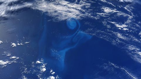 """""""This light blue ocean swirl caught my eye as we flew over the South Pacific,"""" Hurley tweeted on June 15."""