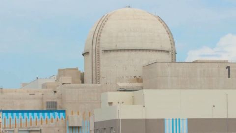 """UAE announces it has """"successfully"""" started up its Unit 1 of the Barakah nuclear energy plant in the Al Dhafrah region."""