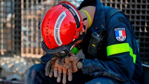 A French rescue worker rests on August 7, 2020.