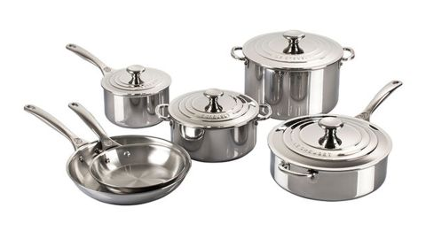 10-Piece Stainless Steel Pots and Pans Set