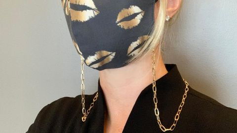 ReuvenDesigns Face Mask Chain Gold Necklace