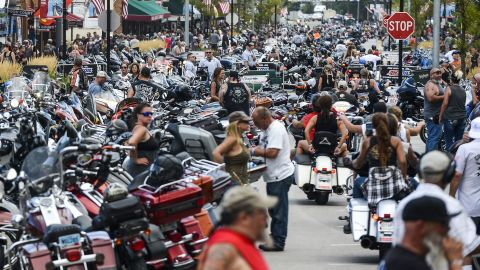 Motorcycles and people crowd Main Street during the 80th Annual Sturgis Motorcycle Rally on August 7, 2020 in Sturgis, South Dakota. (Photo by Michael Ciaglo/Getty Images)