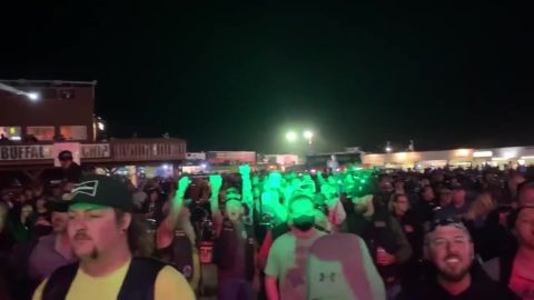 Rock band Smash Mouth performed to a packed crowd at the Sturgis Motorcycle Rally