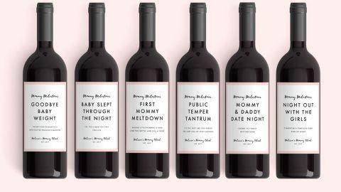 Mommy Milestones New Mom Gift Wine Labels