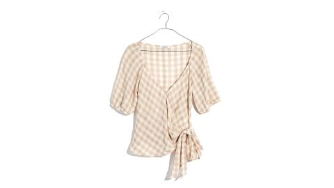 Sweetheart Wrap Top in Gingham Check