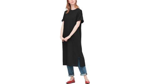 Mercerized Cotton Short-Sleeve Long Dress
