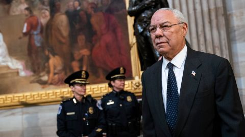 WASHINGTON, DC - DECEMBER 4:  Former Chairman of the Joint Chiefs of Staff and former Secretary of State Colin Powell arrives to pay his respects at the casket of the late former President George H.W. Bush as he lies in state at the U.S. Capitol, December 4, 2018 in Washington, DC. A WWII combat veteran, Bush served as a member of Congress from Texas, ambassador to the United Nations, director of the CIA, vice president and 41st president of the United States. Bush will lie in state in the U.S. Capitol Rotunda until Wednesday morning. (Photo by Drew Angerer/Getty Images)
