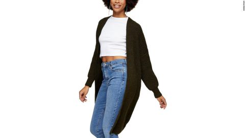 Topshop Ribbed Open Front Cardigan