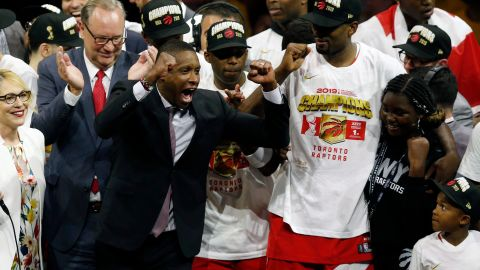 Ujiri celebrates his teams victory over the Golden State Warriors to win Game Six of the 2019 NBA Finals.